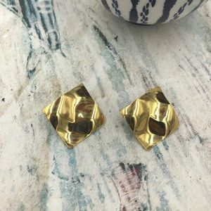 Gold Plated Crinkle Square Stud Earring